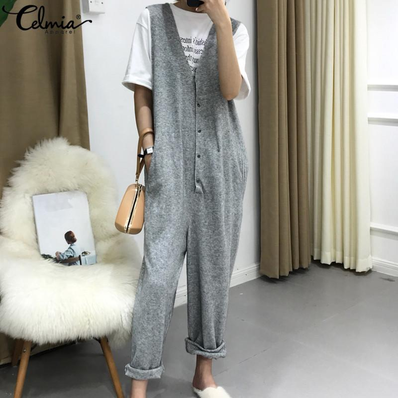 wholesale 2019 New Spring Knit Jumpsuits Women Sexy Sleeveless Casual Harem Pants Button Down Long Rompers Plus Size Overalls Femme