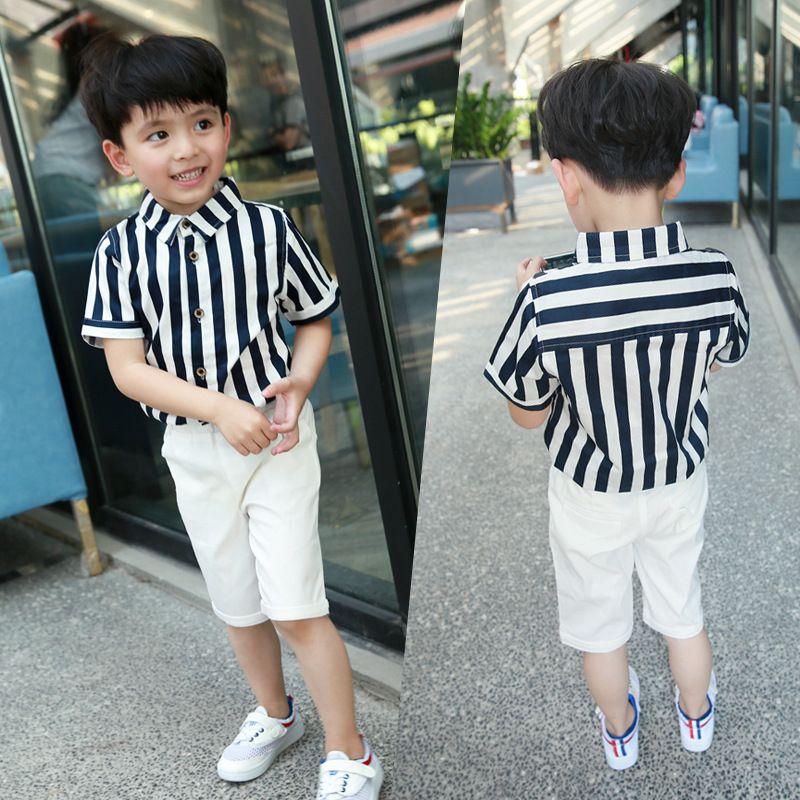 3b84664fa summer new baby boy clothes set blue striped shirt white shorts tiesummer  new baby boy clothes