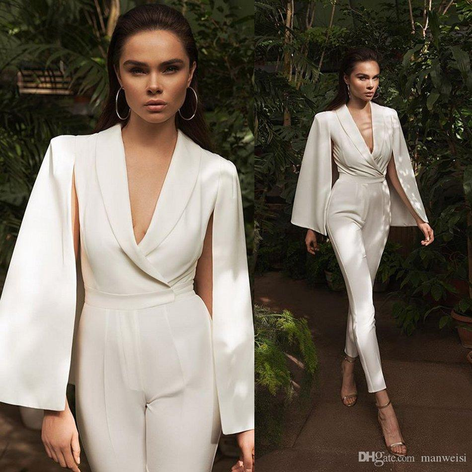 Aso Ebi 2019 Arabic Jumpsuits Evening Dresses Cap Long Sleeve V Neck Satin Prom Dresses Cheap Formal Party Bridesmaid Pageant Gowns