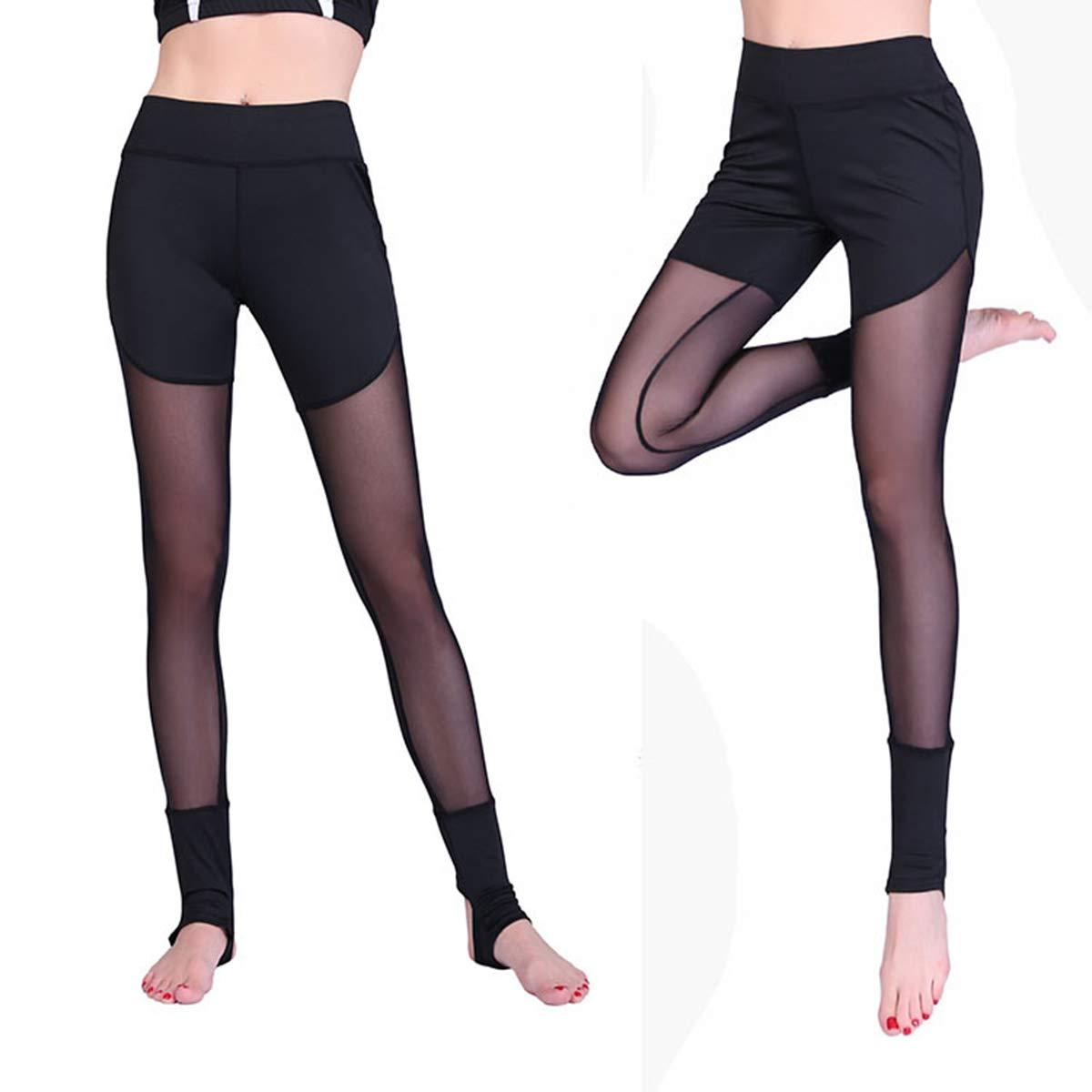 a2c9d3f3071ce Sexy Women's High Waist Skinny Patchwork Thigh Mesh Yoga Pants Tummy  Control Leggings Soft Fitness Capris