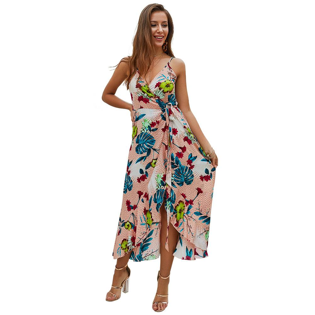 fd7547ee2ed7 2019 2019 New Lady Slip Braces Dress Floral Print Strap Deep V Neck  Sleeveless Sexy Summer Beach Bandage Long Dress From Ngexport