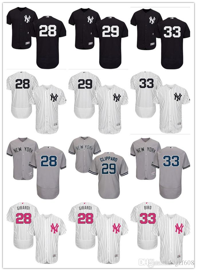 pick up 98695 5a20a custom Men s women youth New York Yankees Jersey #28 Joe Girardi 29 Todd  Frazier 33 Greg Bird Home Black Grey White Baseball Jerseys