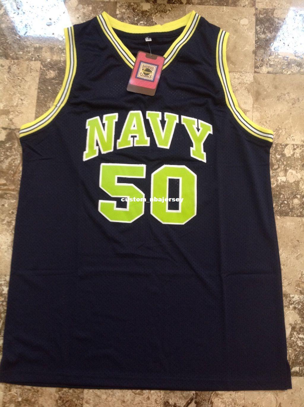 the latest 6f31d bf248 Cheap custom David Robinson Navy Midshipmen Basketball jersey #50 Admiral  Stitched Customize any number name MEN WOMEN YOUTH XS-5XL
