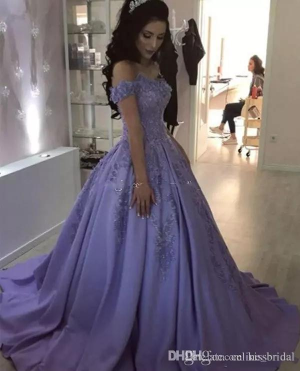 7120aca66c Vestidos De Fiesta Lavender Prom Dresses 2019 Off The Shoulder Lace Evening  Gowns Quinceanera Ball Gown Formal Party Dress Robes De Soiree Short Lace  Prom ...