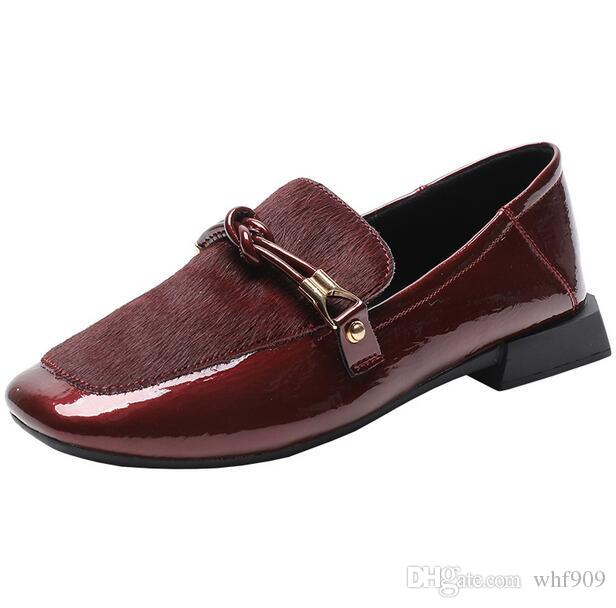 Best Selling Women Loafers Patent Leather Metal Buckle Mules Shoes ...
