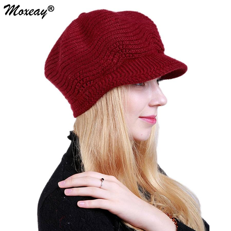 2019 New Winter Lady Berets Visors Hat Women Knitted Soft Fashion Hat With  Visor Solid Color Caps Female Beanie Warm Slouchy Ski Cap From Mudiaolan 2bba21e8fd4