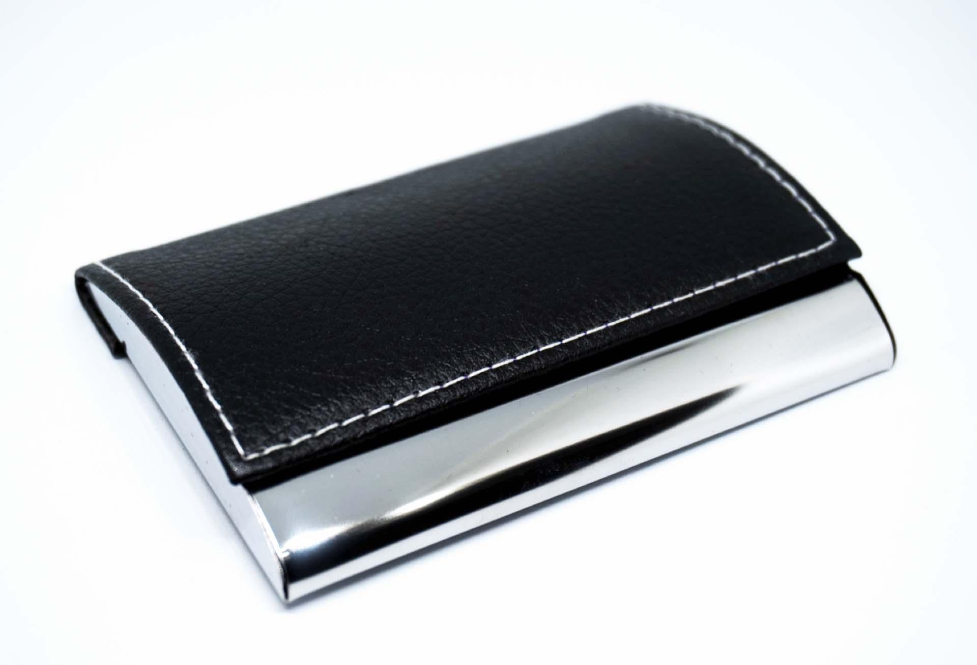 PU leather card holder fashion and contracted sales promotion free laser engraving LOGO stainless steel card holder