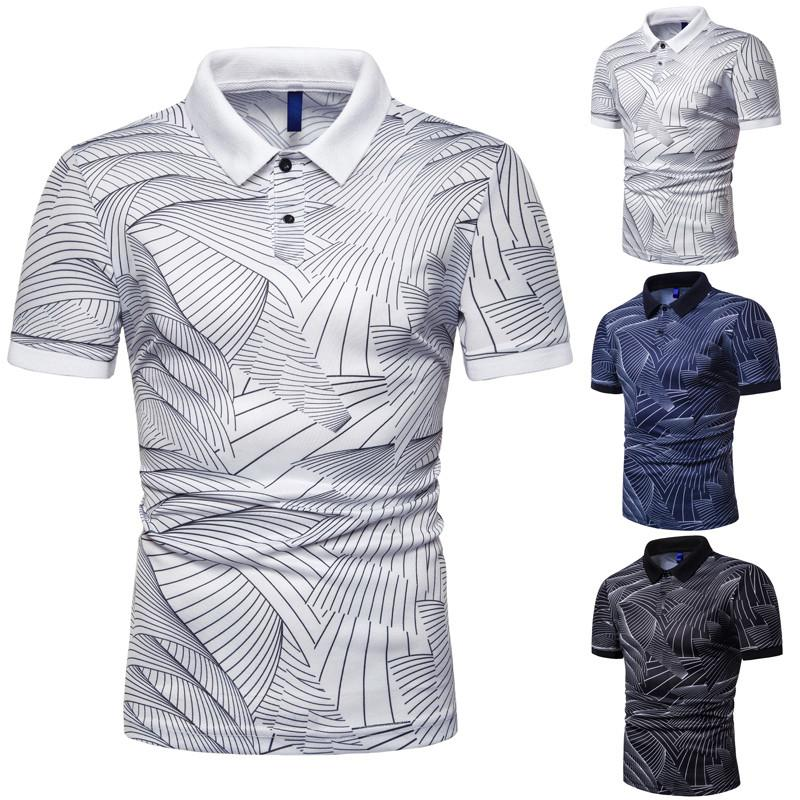 Mens Summer Fashion Polos 2019 Hot Sale High Quality Mens Trend Wave Pattern Print Polo Mens Slim Lapel Shirts Men Brand Tops Tee Size S-3xl