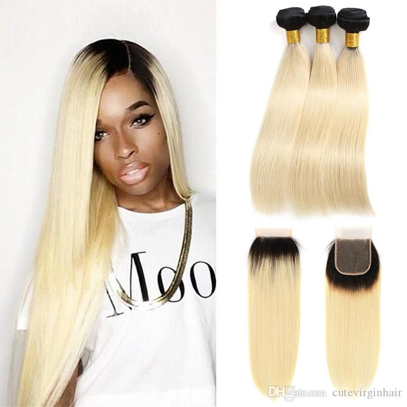 3/4 Bundles With Closure Hair Extensions & Wigs Symbol Of The Brand #613 Blonde Bundles Brazilian Straight Hair 3 Bundles With Lace Frontal Closure Blond Human Hair Weave With Closure Remy
