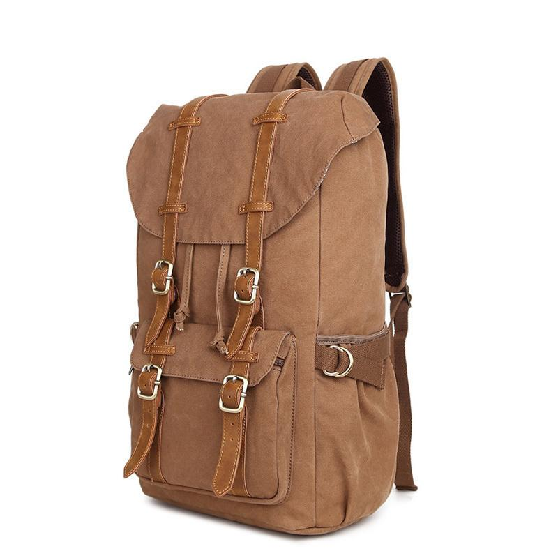 10a081349 18.5inch Military Vintage Backpack Large Capacity Men Male Luggage Bag  Canvas Travel Bags Top Quality Travel Duffle Bag Laptop Rucksack Backpacks  For ...