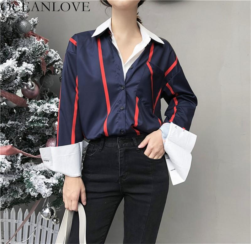 1852b177c65b2 OCEANLOVE Spring Fake Two Pieces Shirts 2019 Spring Long Sleeve Patchwork  Women Blouses Single Breasted Pocket Blusas 11259