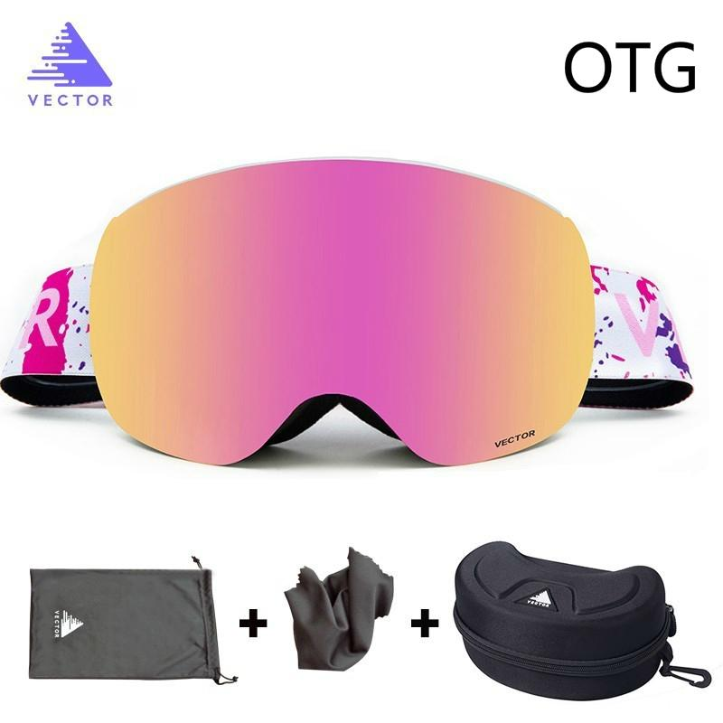 OTG Ski Goggles With Case Snow Glasses Anti-fog Coatings Interchangeable Double-layered Spherical Lenses Sunglasses Snowboard