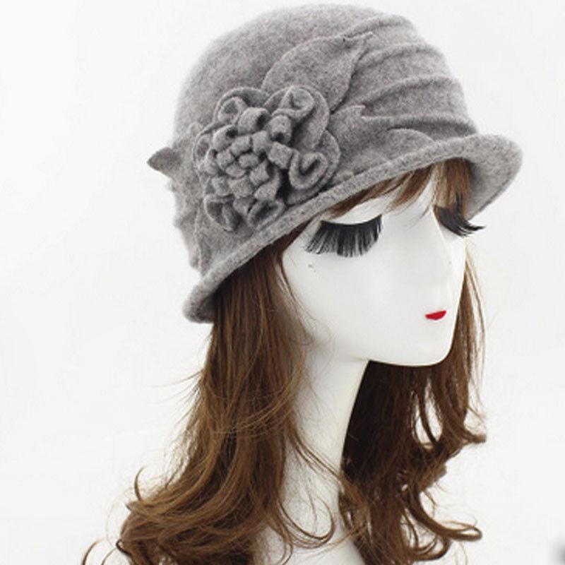 La lana elegante de las señoras de época de invierno 2019 nuevo estilo caliente de la manera de Mujeres Flor sombrero de fieltro cloché Cubo Gorros