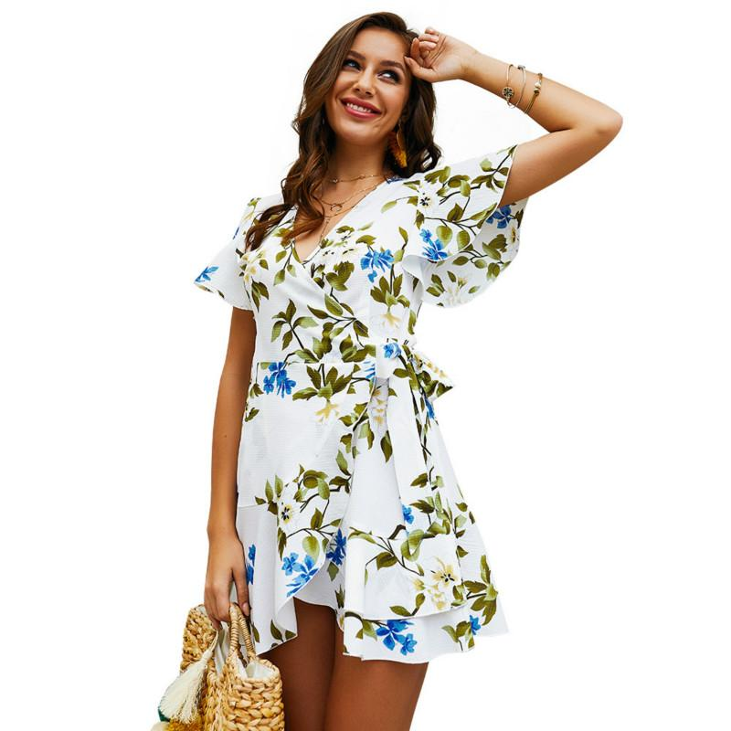 Abito da donna Summer New Floral Printed Dress for Women Ladies Girls manica corta scollo a V Sexy Ruffles Design Dress