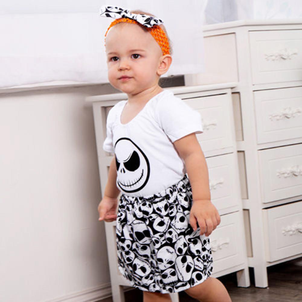 42bea03bcd8b7 good quality Fashion baby boy clothes set Skull Print Romper  Jumpsuit+Headband+Skirt Outfit Set conjunto menino baby clothes for boys