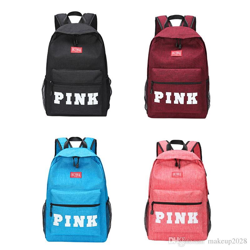 71c61cc7a112 PINK Letter Backpacks Student Fashion Large Travel Backpack Girls ...