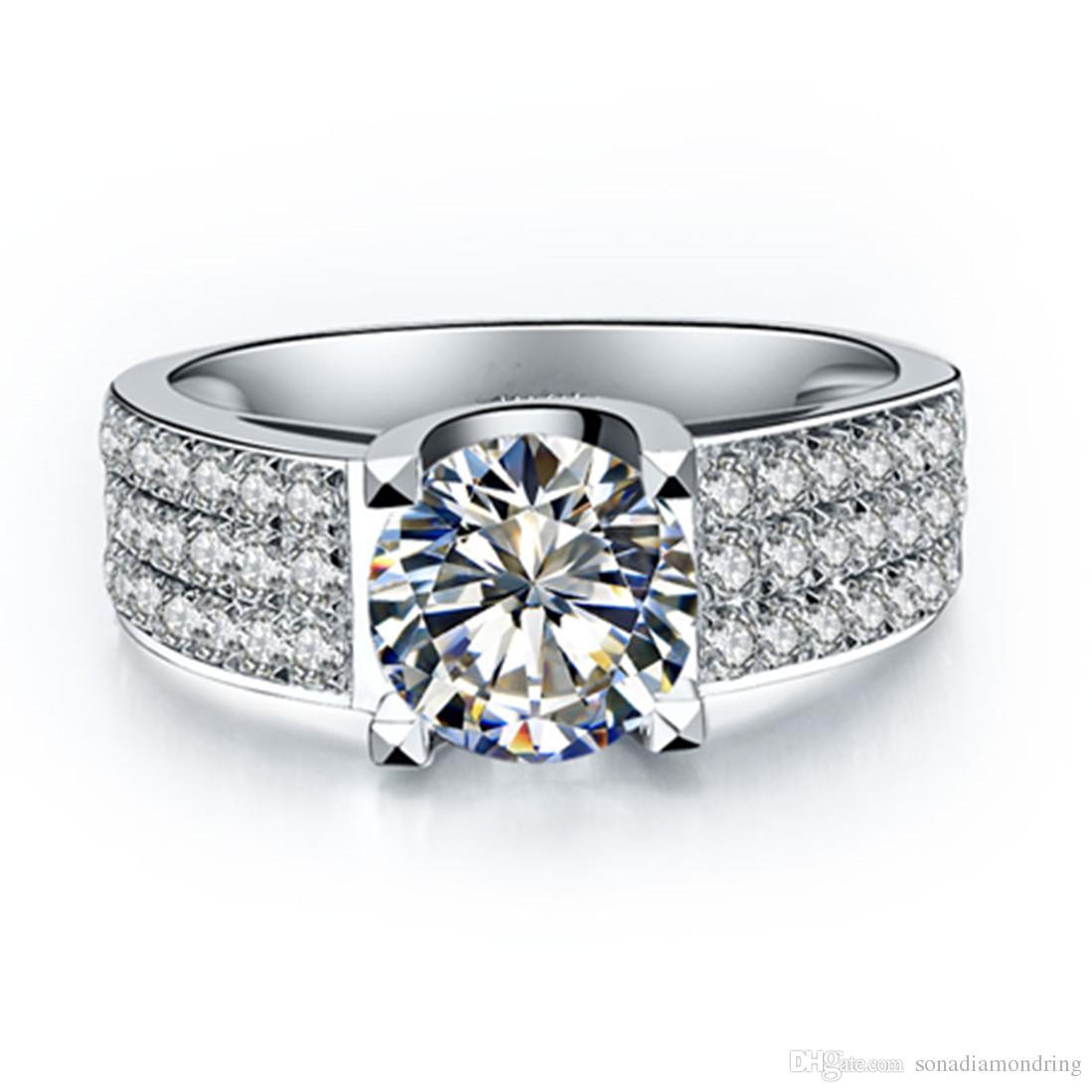 775fa3d8fab2 Compre 1 Ct Anillos De Diamantes Sintéticos Para Mujer Anillo Chapado En Oro  Blanco De 18K Para Dama Anillos De Compromiso De Plata 925 Para Mujeres A  ...