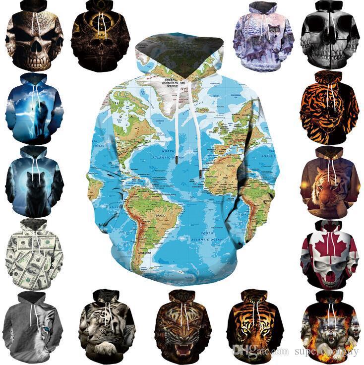 2019 World Map Sweatshirts Hoodie Skull Tiger 3d Digital Printing