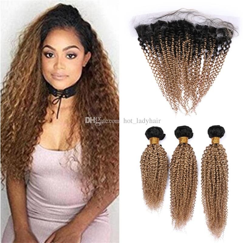 2019 1b 27 Light Brown Ombre Kinky Curly Human Hair Bundles With