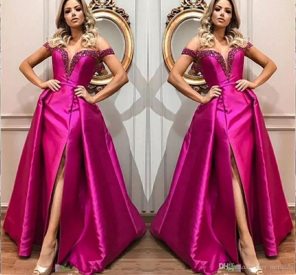 2019 Fuchsia Evening Dresses Train Off Shoulder Beads Sequin Front Side Split Celebrity Prom Dresses Satin Red Carpet Party Gowns