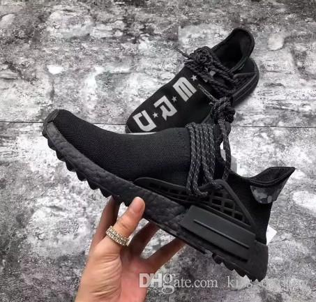 buy online 98018 48847 Originals Trail NMDs Human Race HU Pharrell Williams NERD Black White  Running Shoes Men Women Authentic Sneakers Sports Shoes