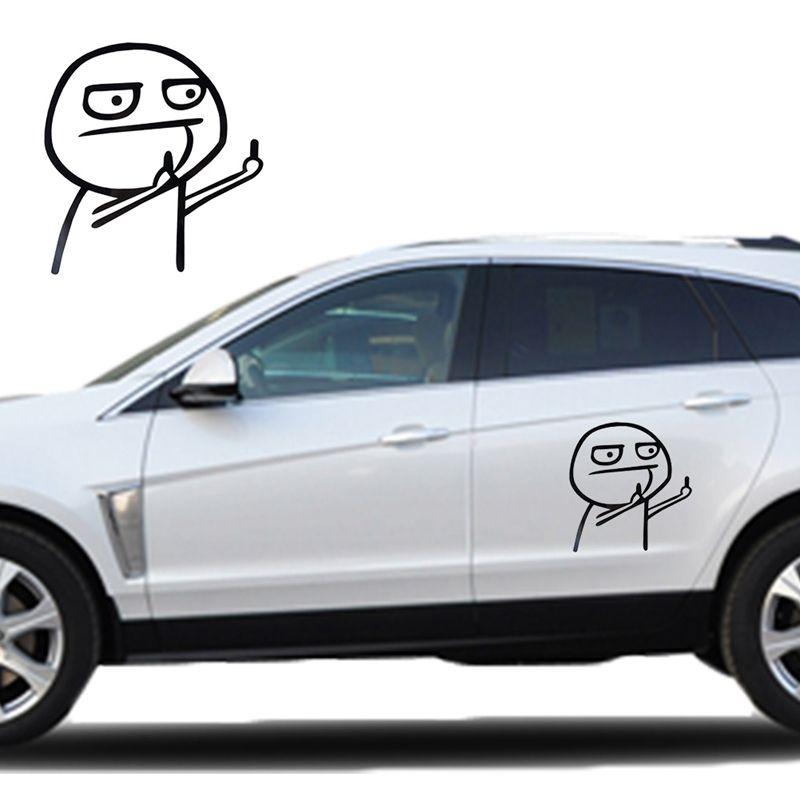 Komik Karikatür Orta Parmak Araba Oto Sticker Laptop Motosiklet Çıkartması Dekor