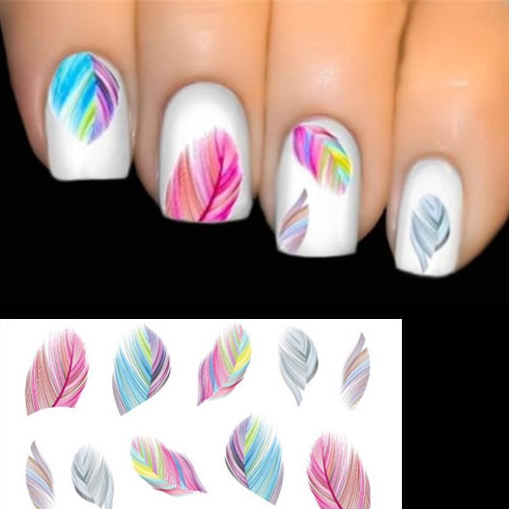 Feather 3D Nail Art Water Transfer Sticker Nails Accessoires Rainbow ...