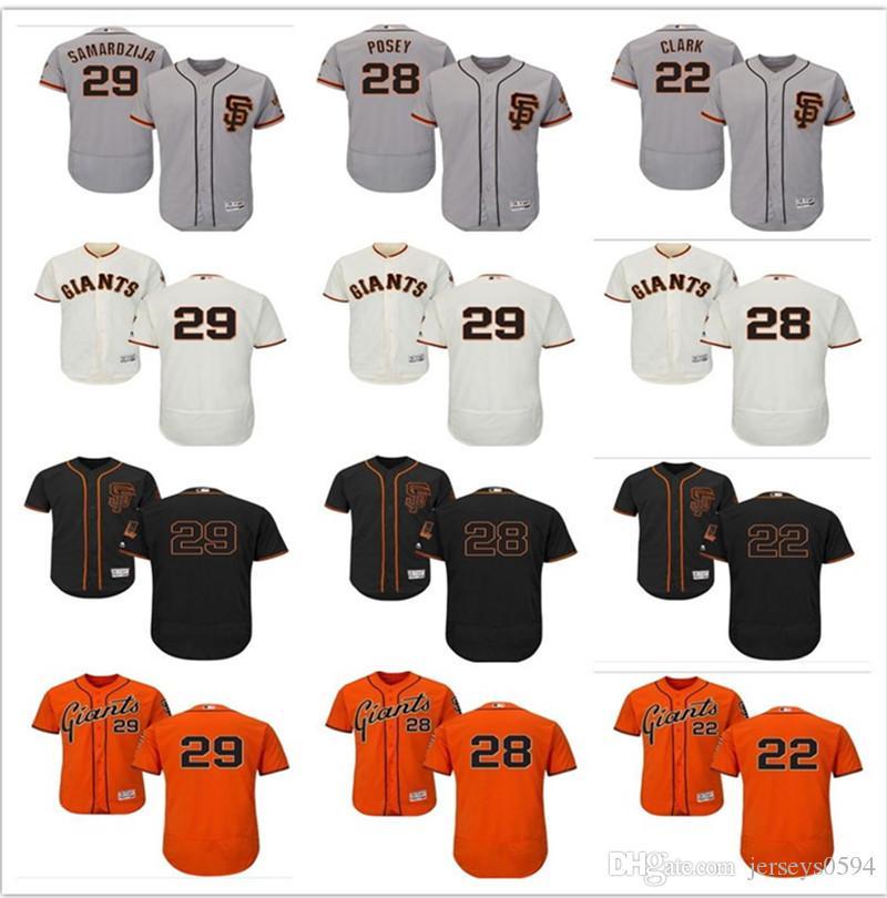 sports shoes 4ed1c caf74 2018 custom Men's Women Youth Majestic San Francisco Giants Jersey #28  Buster Posey 29 Jeff Samardzija 22 Will Clark kids Baseball Jerseys