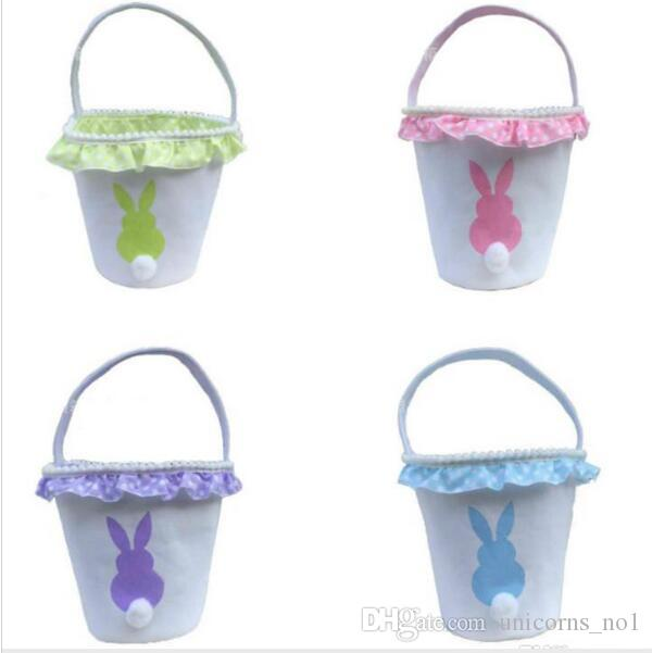 Easter Baskets Canvas Easter Rabbit Basket Bunny Egg Buckets Bags With Lacy handbag Rabbit Basket Tote Bag cny1051
