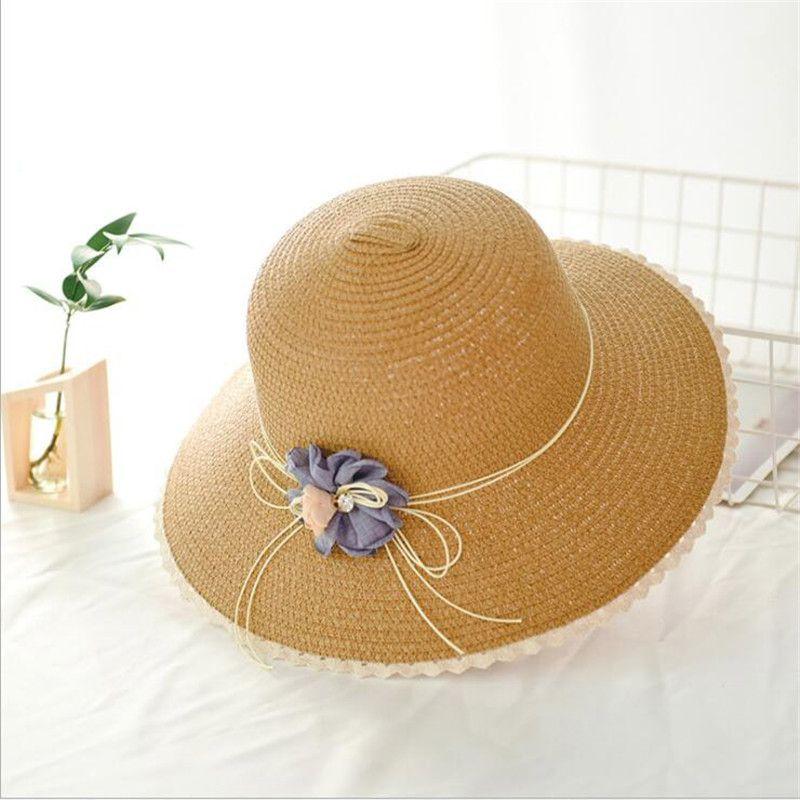 80df8573 Summer Beach Wide Brim Hats Popular Floral Floppy Fold Sunscreen Hat ...