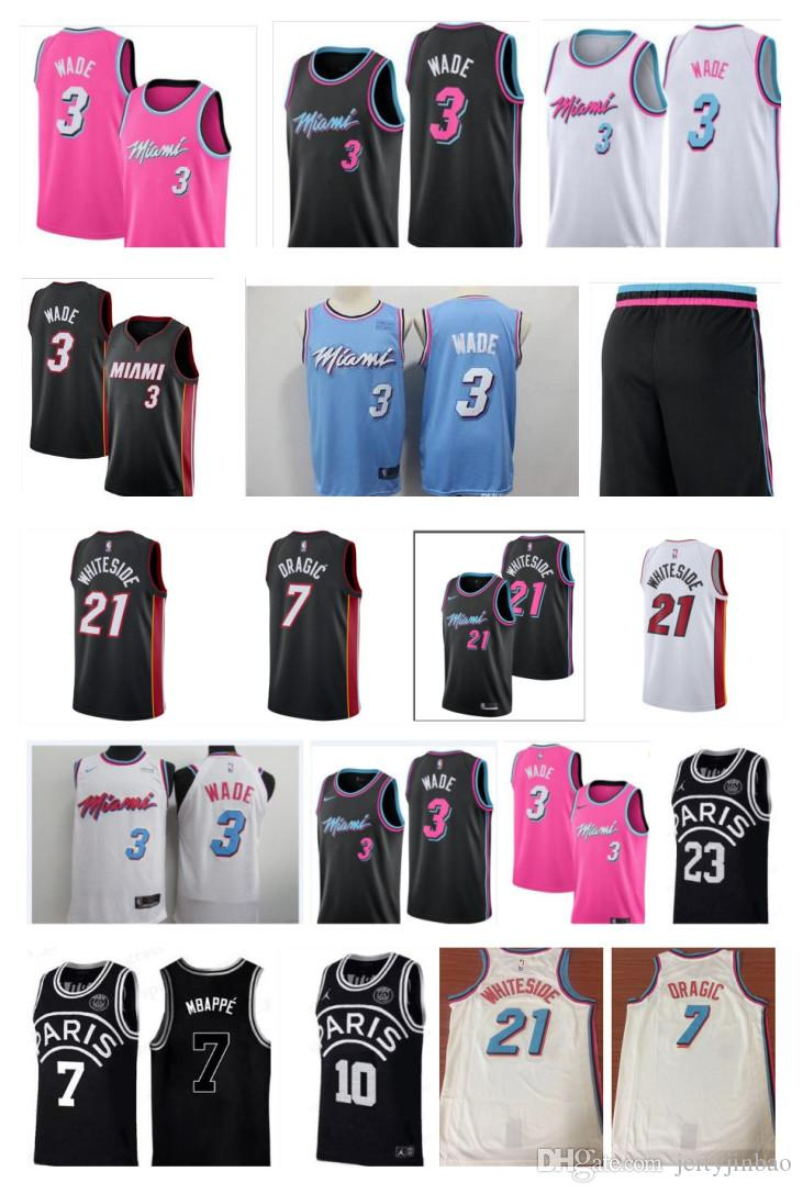 official photos 163f6 199cc 2019 Miami newest dwayne jersey 100% stitched Heat 3 Wade Embroidered Logo  black white pink shorts mens Jersey