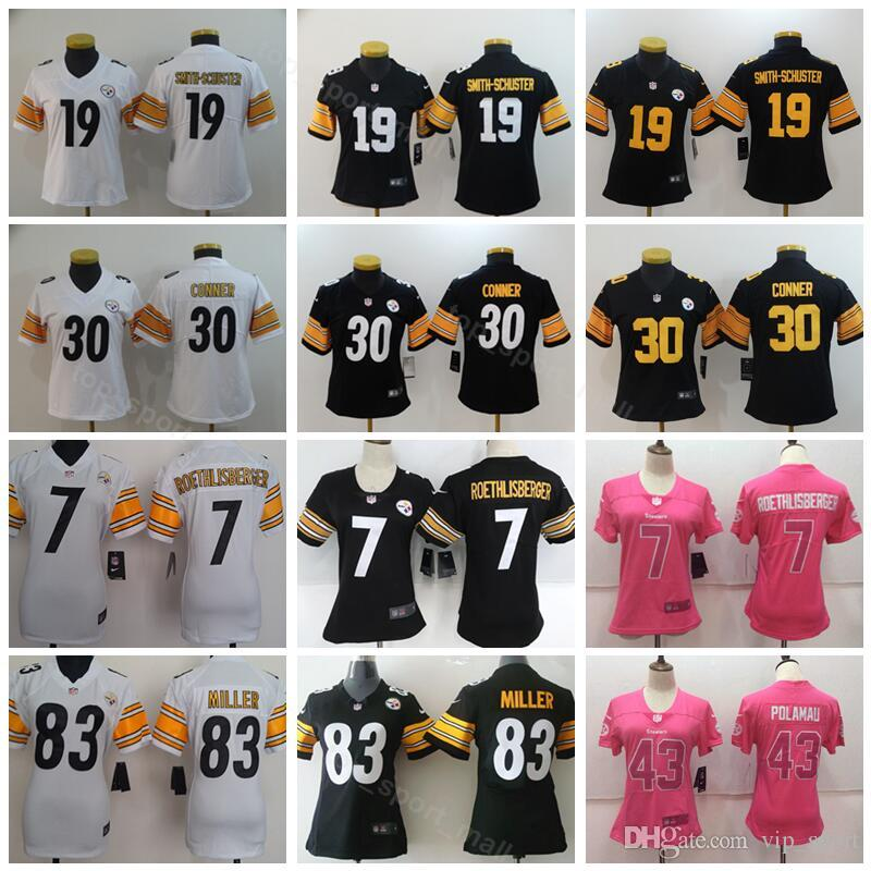 e12db6885 2019 Women Pittsburgh Jerseys Football Steelers Lady 19 JuJu Smith Schuster  7 Ben Roethlisberger 30 James Conner 43 Troy Polamalu 83 Heath Miller From  ...