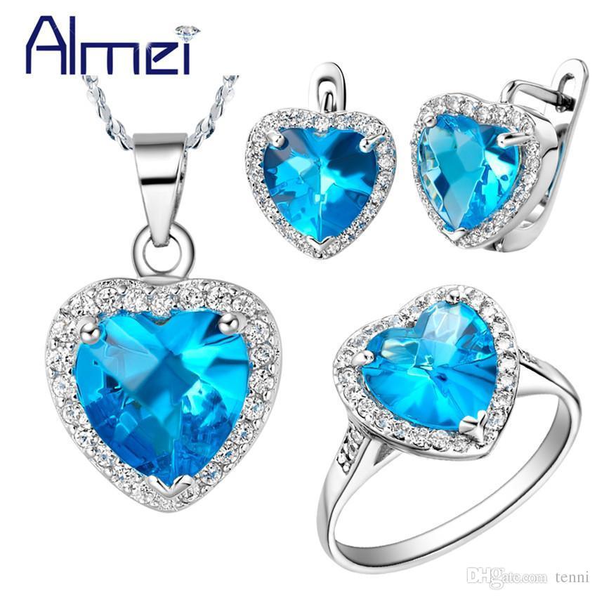 e30812a7027b Compre Almei Conjuntos De Joyería De Boda De Plata Zirconia Mujeres Anillo  Pendiente Y Collares Océano Azul Corazón Cristal Bijoux Femme Parure T009 A  ...