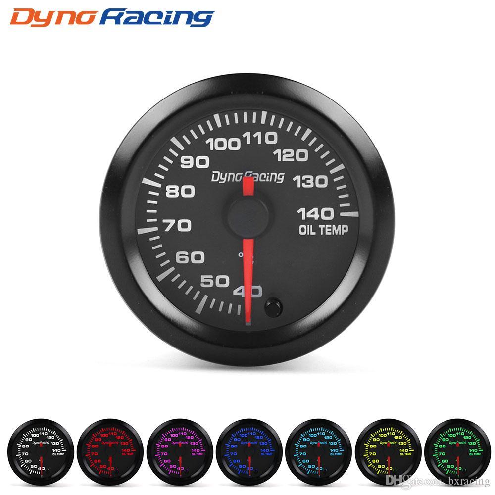 Dynoracing 2 52mm 7 Colors LED Car Oil Temp Gauge 40-140 Celsius Oil  Temperature Meter High Speed Motor With Sensor BX101490