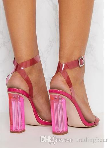 Plus Size 35 To 40 41 42 Candy Color Ankle Strappy PVC Clear Transparent High Heel Sandals