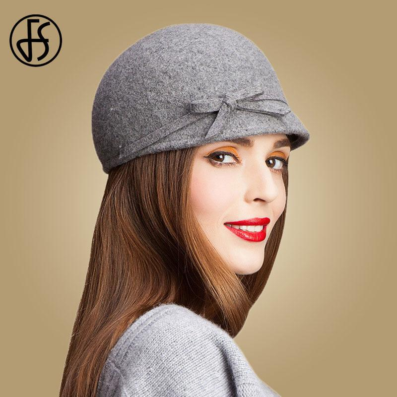 FS Vintage 100% Wool Fedora Floppy Bowknot Winter Felt Hats For Women Grey  Black Navy Knight Top Caps Casual Chapeu Feminino D19011102 Baby Sun Hat  Summer ... a67b5003d93