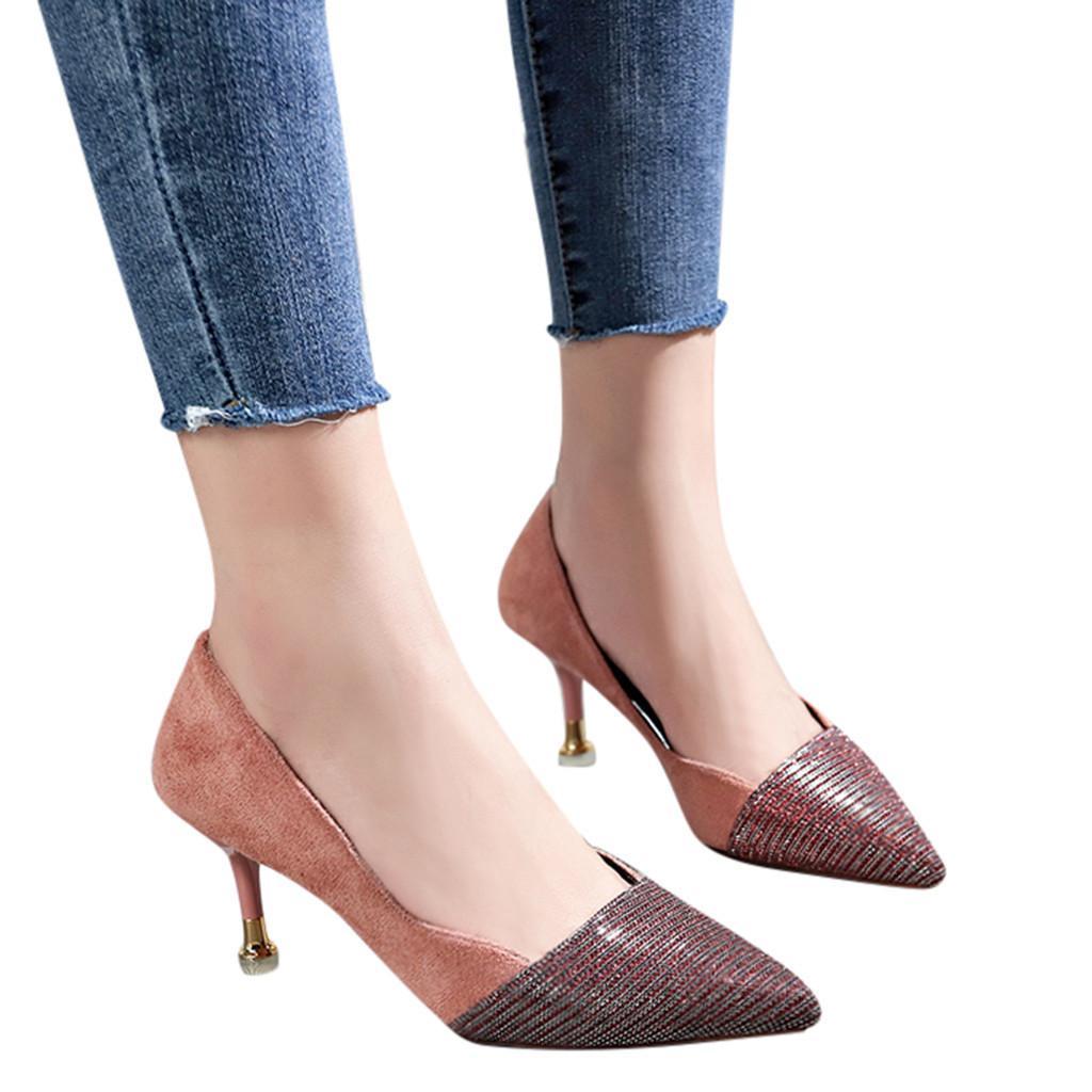 Compre Diseñador De Zapatos De Vestir Youyedian Mujeres Punta Estrecha Wild Tacón  Alto Moda Lentejuelas Estilete Valentine Scarpin Salto Alto Escarp   G25 A  ... 84af44466cf7