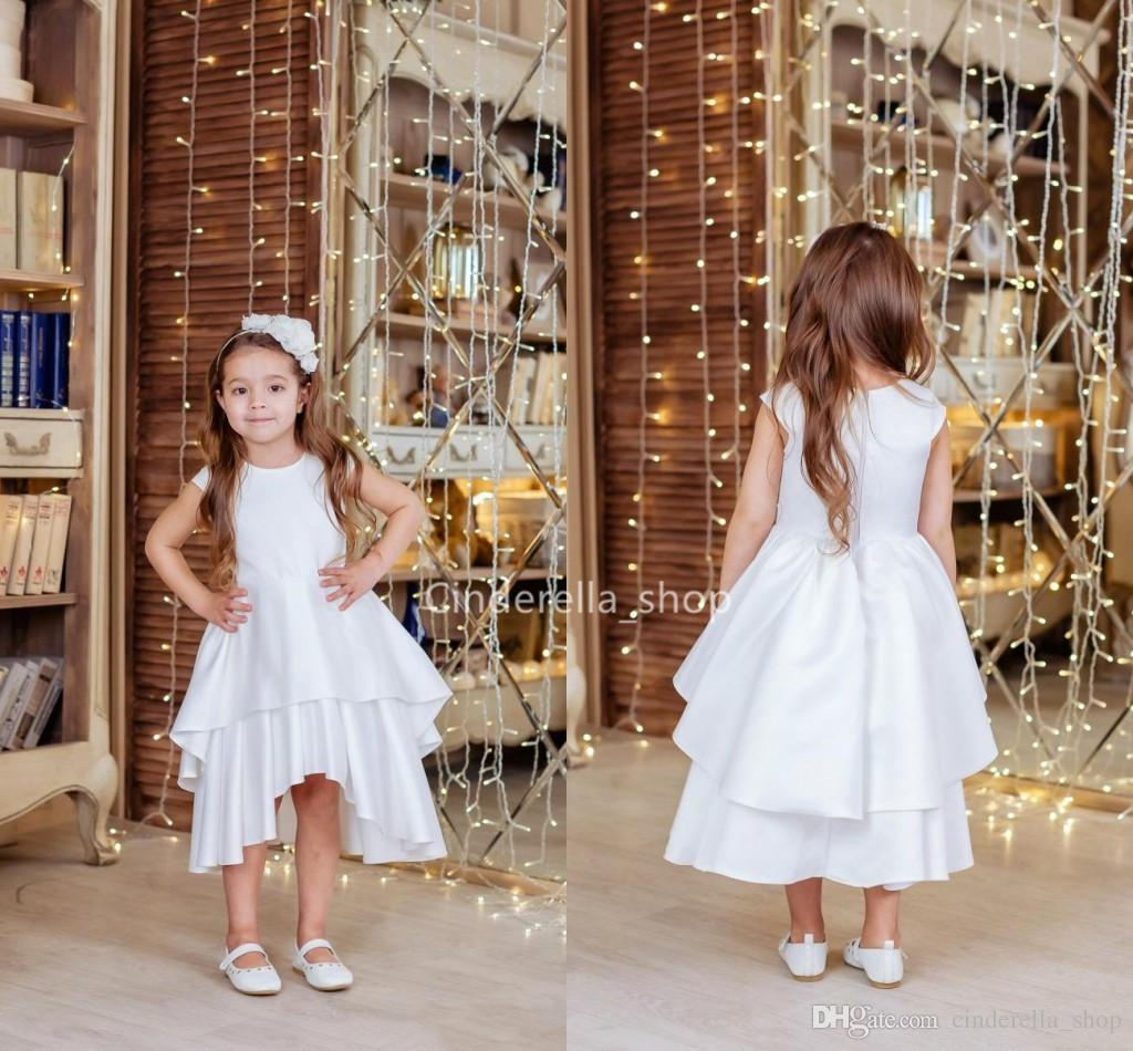 f0dd56a98 Simple White High Low Flower Girls Dresses 2019 Cap Sleeves Tiered First  Holy Communion Dresses Girls Birthday Party Gowns Vestidos