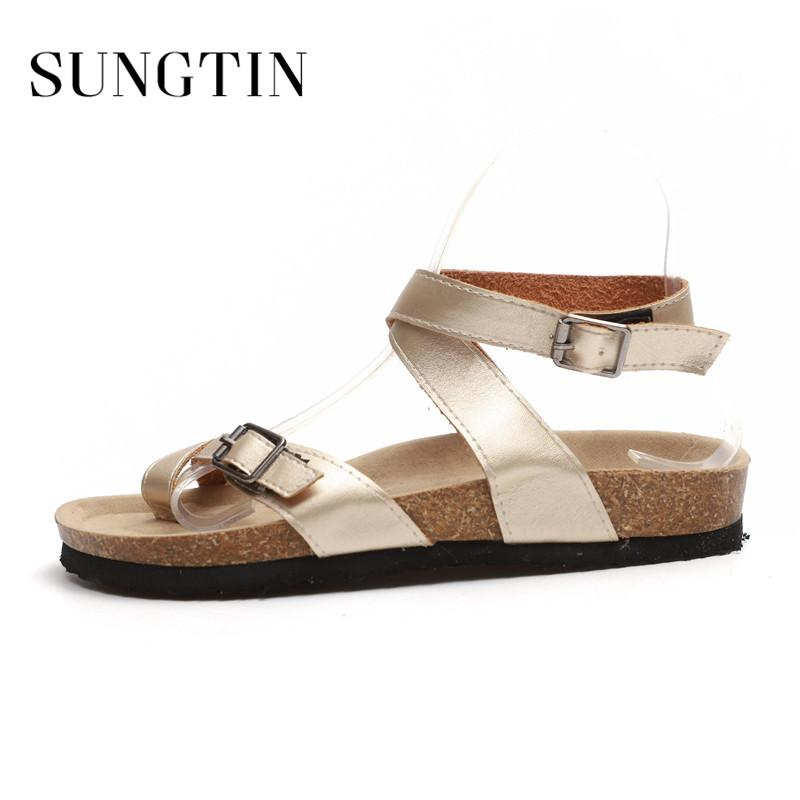 a02f87f84fea Sungtin Summer Women Fashion Flat Large Size Gladiator Sandals Ladies  Casual Plus Size Buckle Strap Platform Sandal Shoes Brown Wedges Gold  Wedges From ...