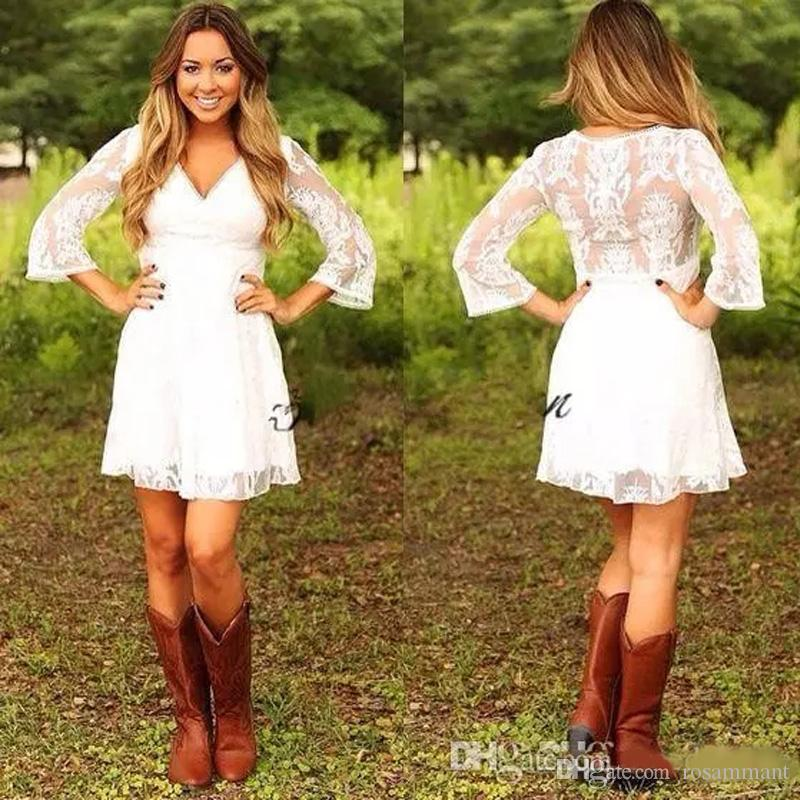 a666d68c7d1e3 Discount 2019 Modest Short Lace Cowgirls Country Wedding Dresses With 3 4  Long Sleeves Mini Bridal Gowns Reception Dress For Wedding Wedding Collection  For ...