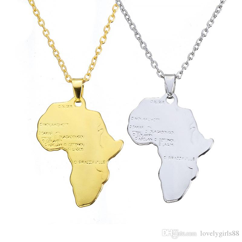 Golden Silver African Maps Shaped Hip Hop Necklace Metal Alloy Charm Pendant Choker Chain Necklaces Women Jewelry Birthday Gifts