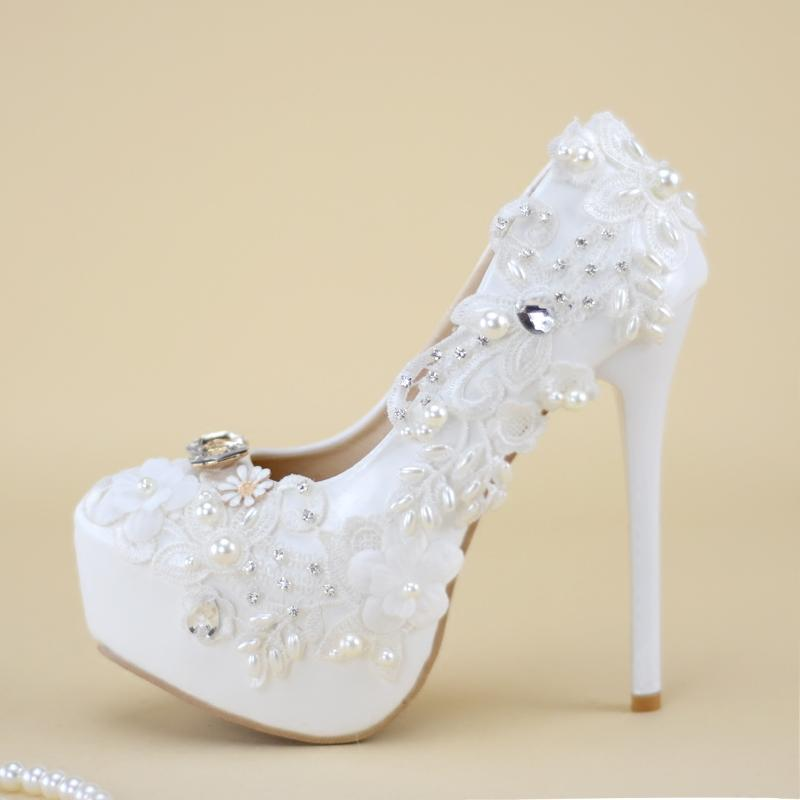 Wedding White Shoes High Heels Bride Appliques Pearls Stone Lace Flowers  Women Bride Pumps Bridesmaid Thin Heels Whole Sale Mens Shoes Online Mens  Dress ... 46b08392468a