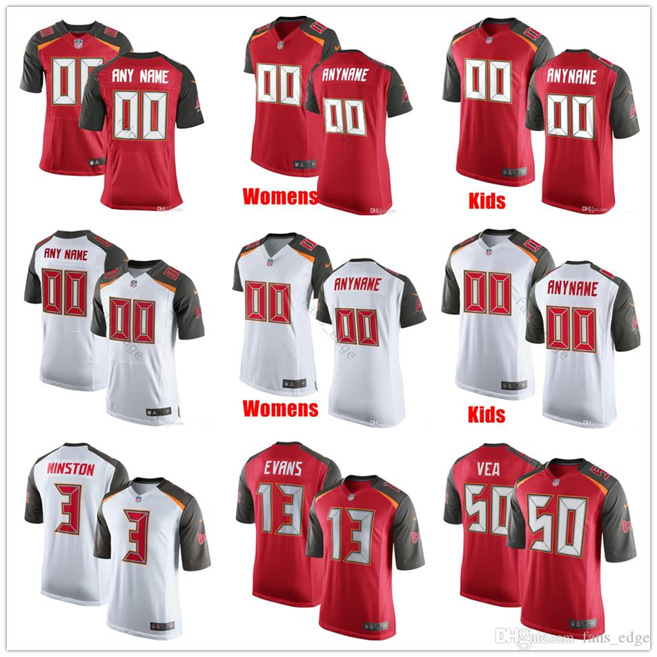 cheaper 7b905 eee6c Custom Tampa Bay #50 Vita Vea 93 Gerald McCoy 3 Jameis Winston 47 John  Lynch 13 Mike Evans Men Women Kids Youth Buccaneers Stitched Jerseys