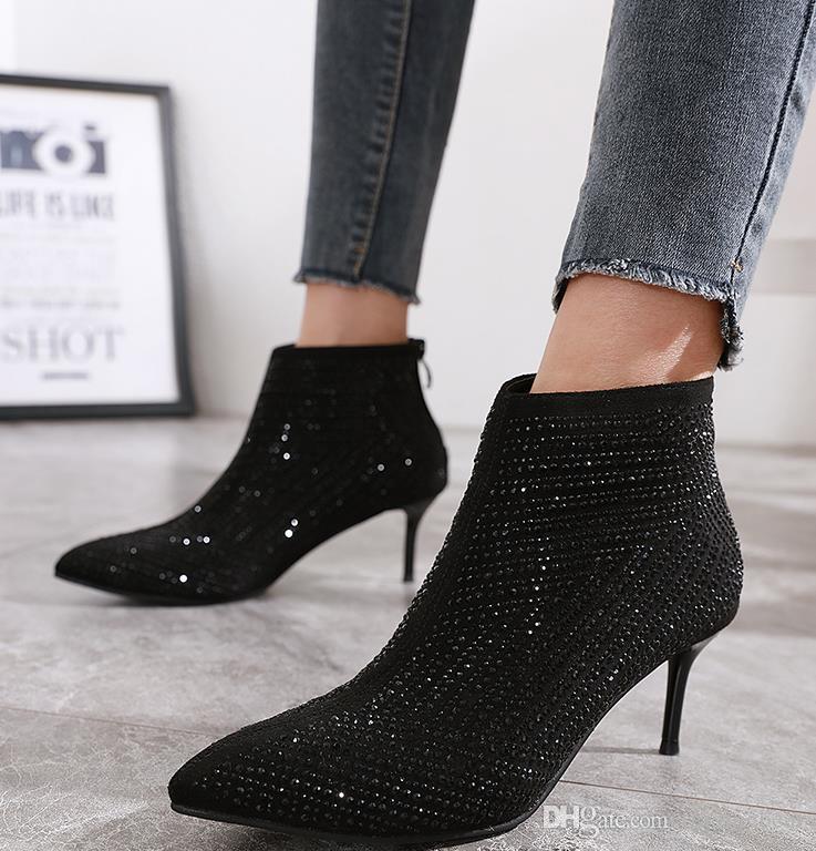 Chic black rhinestone kitten heel bootie 6cm fashion luxury designer women shoes winter boots Size 34 To 40
