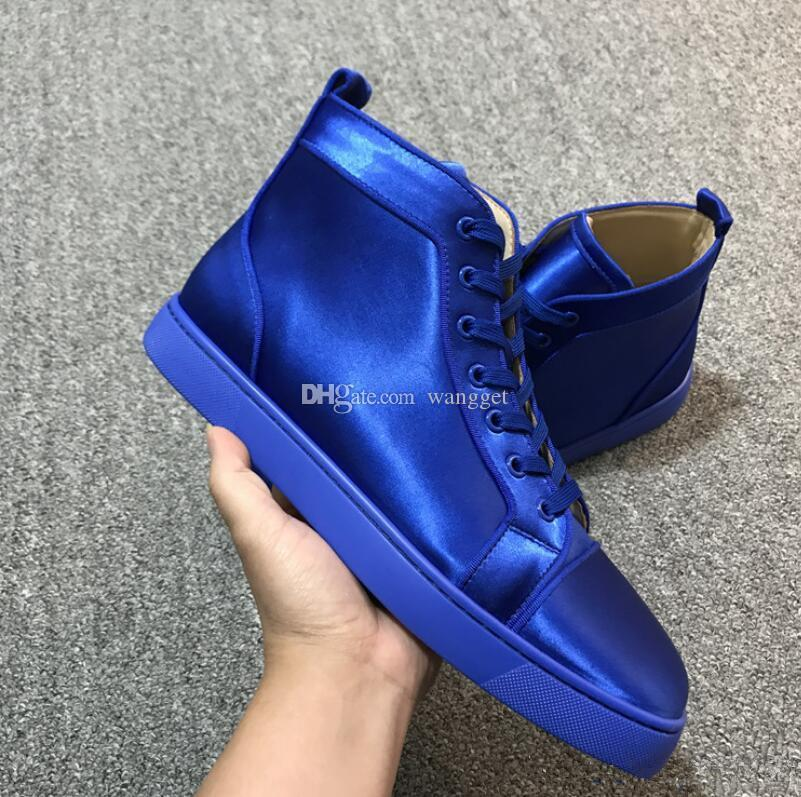5eb403c933d Luxurious Red Bottom Men,Women Shoes Shiny Blue Silk Suede High/Low Top Red  Sole Sneakers Shoes,Outdoor Flat With Walking Party Shoes