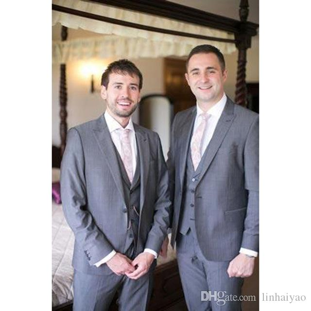 Custom Made Grey Groomsmen Suits Slim Fit Groom men suit Tuxedos Bridegroom Formal Business Men's Suits( jacket+Pants+vest+tie)