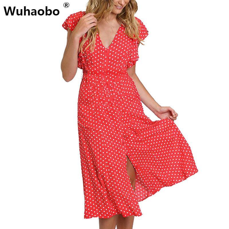 2a85c5e01e77b Wuhaobo Button 2019 Vestiods Irregular Mid Length Female Tunic Summer Boho  Beach Dresses Sexy Ruffles Polka Dot Women Dresses Y190426