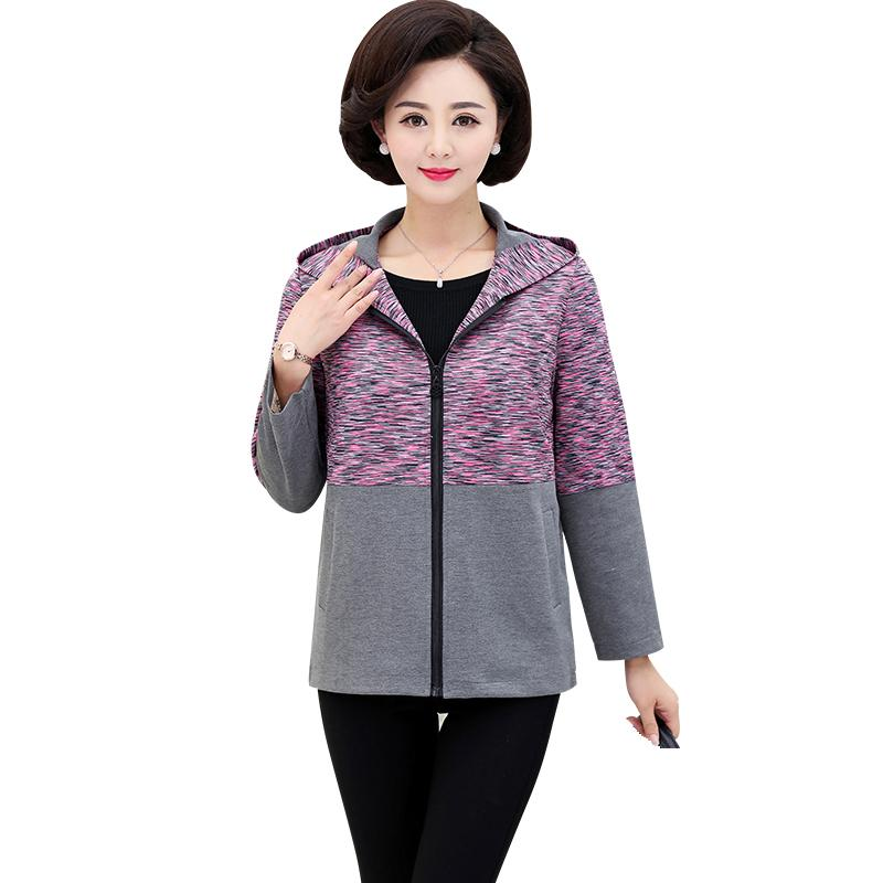 03d0f557b 5XL Plus Size Women Spring Fall Wear Jacket Coat Long Sleeve 2019 Middle  Age Mother Clothes Zipper Outwear Fashion Printed Top