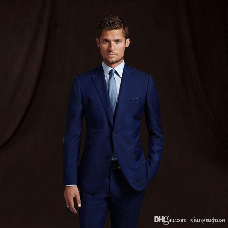 Navy Blue Groom Wear Wedding TuxedosMens Suit With Pants Wedding Suits Groomsmen Best Man Formal Business Suit (jacket+pant)