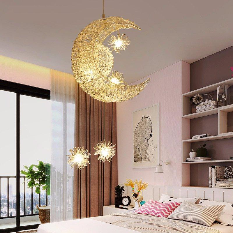 Modern Moon Star Pendant Light For Kids Children Bedroom Aircraft